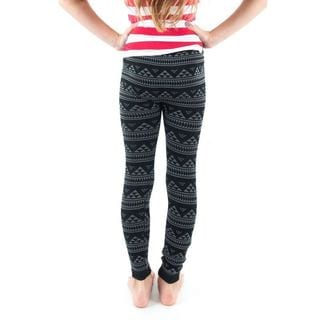 Soho Kids Black/Grey Pyramid Pattern Leggings