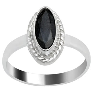 Orchid Jewlery's' 0.9 CTTW Genuine Sapphire Silver-tone Brass Ring