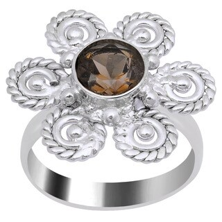 Orchid Jewelry's 1.25 Carat Weight Genuine Smoky Quartz Rhodium Finish Ring in Brass