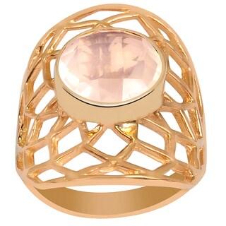 Orchid Jewelry's Wonderful 2.95 Carat Weight Genuine Rose Quartz Brass Ring