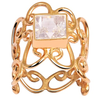 Orchid Jewelry's Elegant 2.50 Carat Weight Genuine Rose Quartz Rose Gold Plated Brass Ring