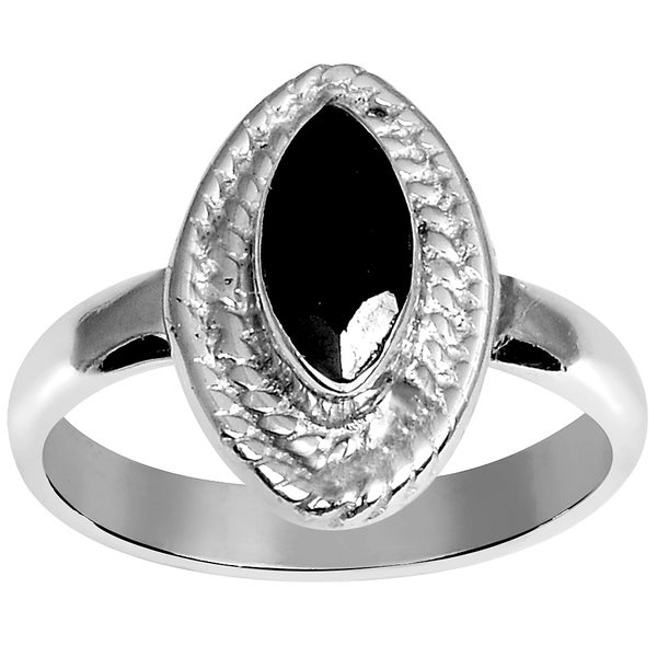 Orchid Jewelry Silver Overlay 9/10ct Marquise-cut Sapphire Ring