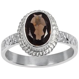 Orchid Jewelry's 1.00 Carat Weight Genuine Smoky Quartz Brass Ring