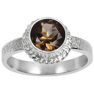 Orchid Jewelry's Nice 1.20 Carat Weight Genuine Smoky Quartz Brass Ring