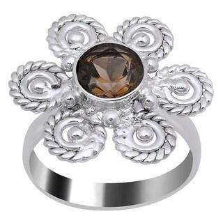 Orchid Jewelry's Nice 1.25 Carat Weight Genuine Smoky Quartz Brass Ring