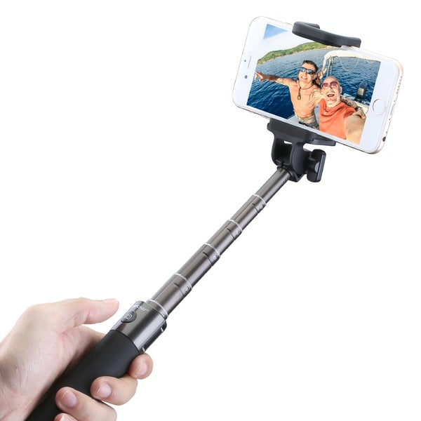 Mpow Compact Extendable Bluetooth Aluminum Monopod Portrait Selfie Stick Adjustable Phone Holder for iPhone and Android Devices