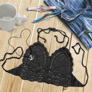 Zodaca Black Women Crochet Bikini Backless Halter Bra