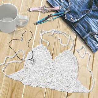 Zodaca White Women Crochet Bikini Backless Halter Bra