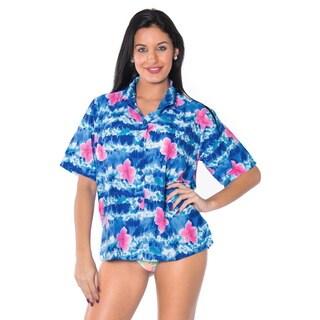 La Leela Women's Blue Hibiscus Button-Down Beach Shirt