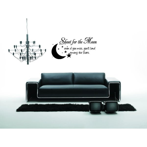Beautiful inscription Shoot For the Moon! Wall Art Sticker Decal
