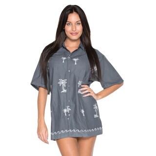 La Leela Women's Grey/ White Rayon Hawaiian Button Down Shirt