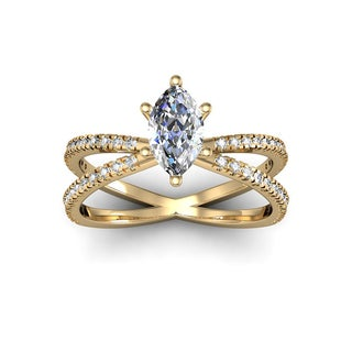 1.25ct Marquise Split Band Engagement Ring Crafted In 14K Yellow Gold (I-J, I1-I2)