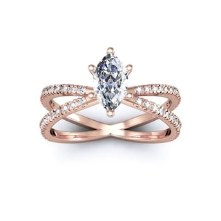 1.25ct Marquise Split Band Engagement Ring Crafted In 14K Rose Gold (I-J, I1-I2)