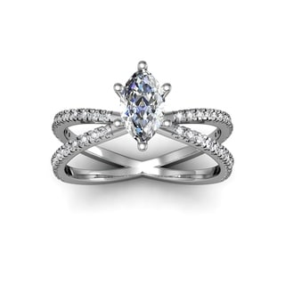 1.25ct Marquise Split Band Engagement Ring Crafted In 14K White Gold (I-J, I1-I2)