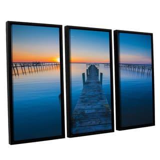 ArtWall Steve Ainsworth's 'Blue Is The Bay' 3-piece Floater Framed Canvas Set