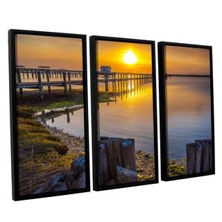ArtWall Steve Ainsworth's 'Sunset Over Chicoteague' 3-piece Floater Framed Canvas Set