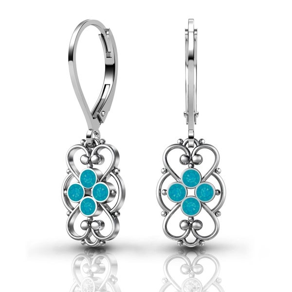 Lucia Costin Sterling Silver Blue Crystal Earrings with Fancy Dots 17786784