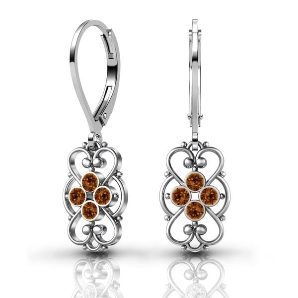 Lucia Costin Sterling Silver Brown Crystal Earrings with Cute Dots 17786875