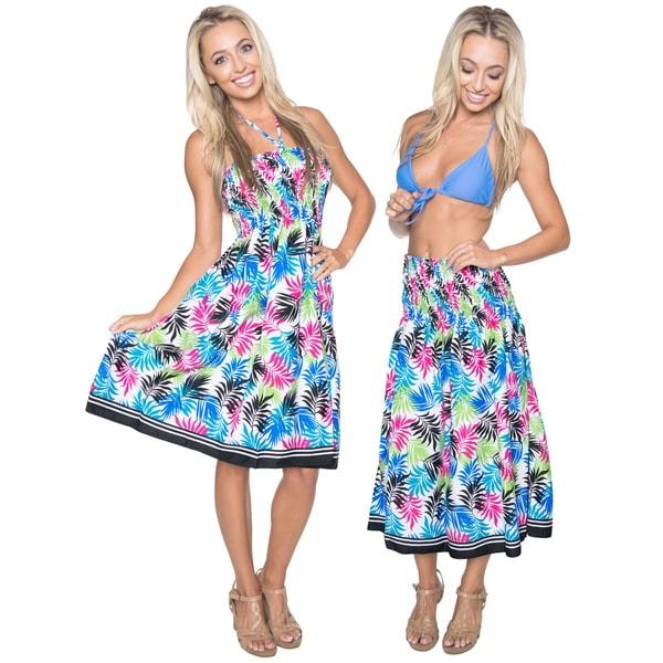 La Leela 3 in 1 Cover up Skirt /Maxi Dress/ Halterneck Sundress Top Beach White