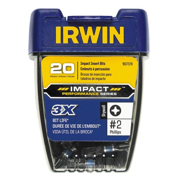 Irwin 1837378 1-inch Philips #2 Impact Drywall Insert Bit Pack 20-count