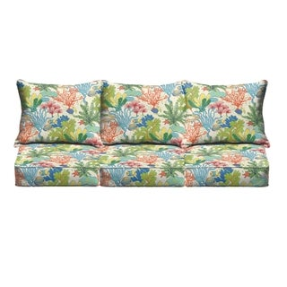 San Elijo Blue Green Indoor/ Outdoor Corded Sofa Cushion Set by Havenside Home
