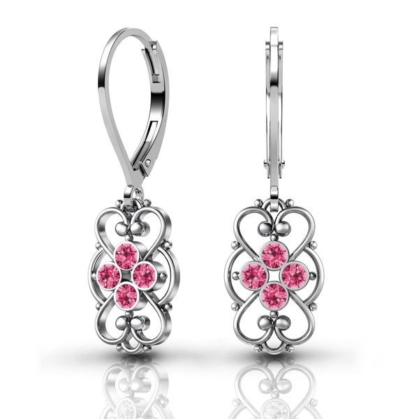 Lucia Costin Sterling Silver Pink Crystal Earrings with Fancy Dots 17787002