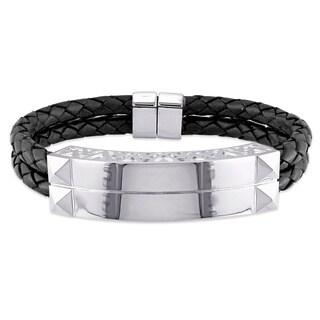 Versace 19.69 Abbigliamento Sportivo SRL Men's Sterling Silver Leather Bangle Bracelet