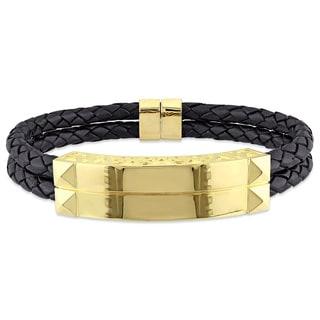 Versace 19.69 Abbigliamento Sportivo SRL Men's 18k Yellow Gold Plated Sterling Silver Leather Bangle Bracelet