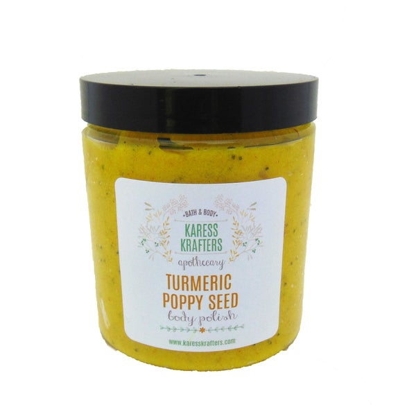 Turmeric Poppy Seed Body Polish, Sugar Scrub, Natural Exfoliant by Karess Krafters Apothecary