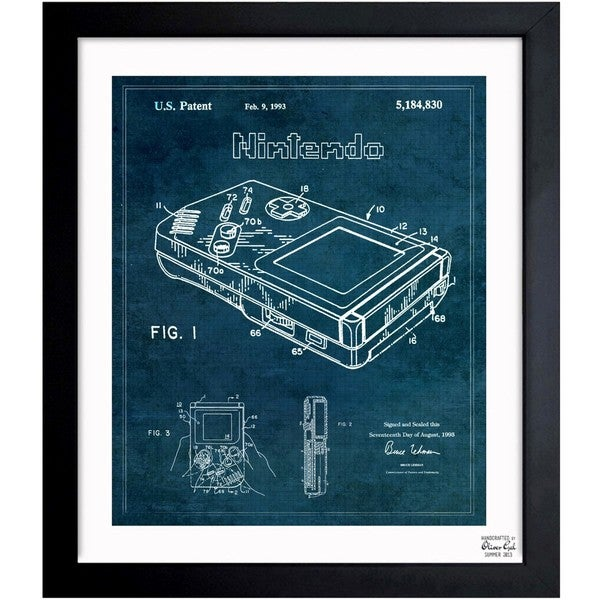 'Gameboy 1993' Framed Blueprint Art