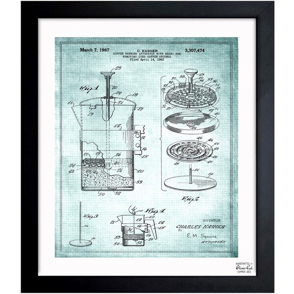 'Coffee brewing apparatus 1967' Framed Blueprint Art