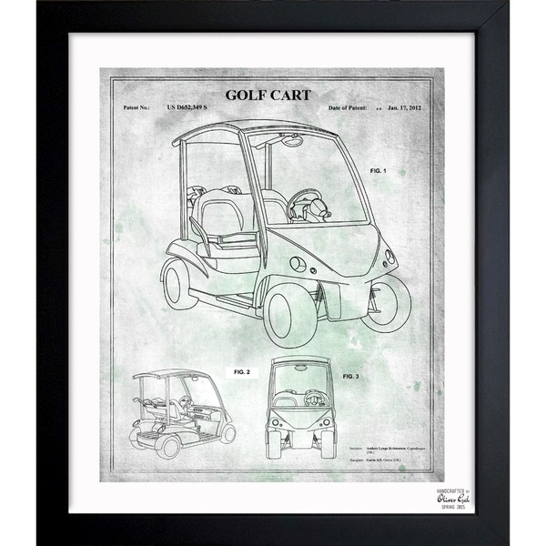 'Golf Cart 2012' Framed Blueprint Art