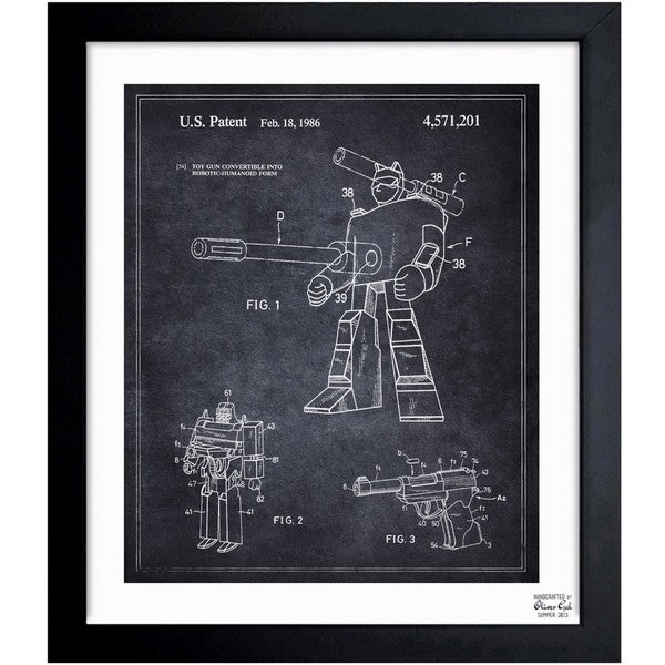 'Megatron 1986' Framed Blueprint Art