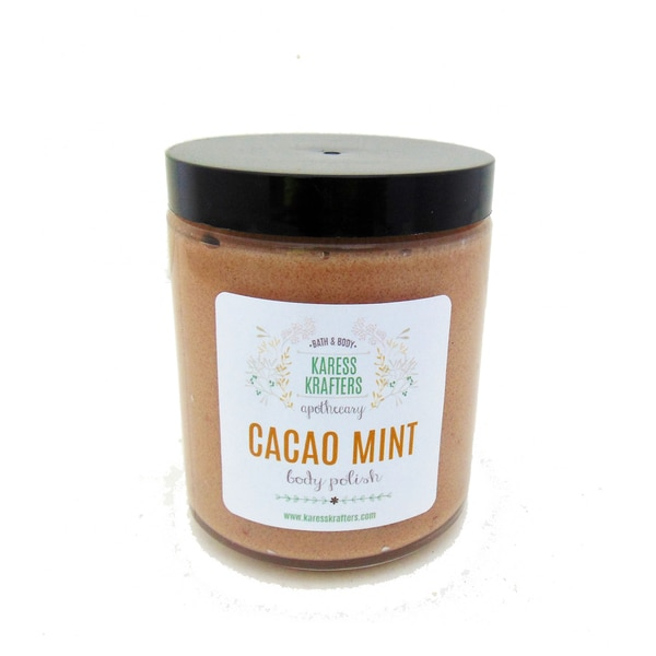 Cacao Mint Body Polish, Sugar Scrub, Natural Exfoliate with Cranberry Seeds and Cacao Powder by Karess Krafters Apothecary