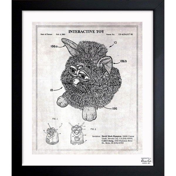 'Furby 2003 - Grey' Framed Blueprint Art