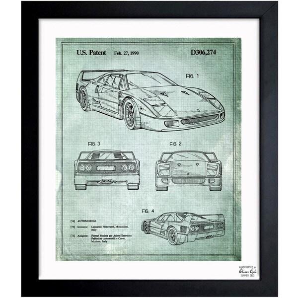 'Ferrari F40 1990' Framed Blueprint Art