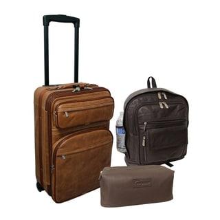 Amerileather Century 3-Piece Leather Luggage Set