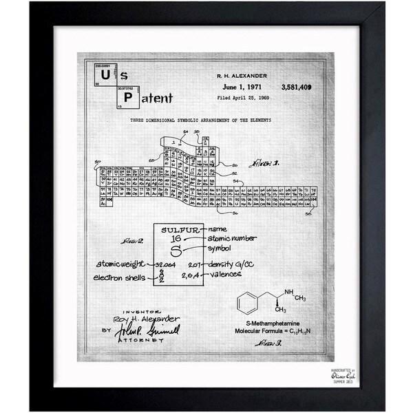 '3D Table of The Elements 1971' Framed Blueprint Art