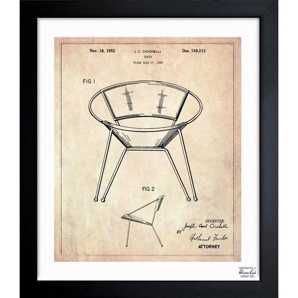 'Chair 1952' Framed Blueprint Art