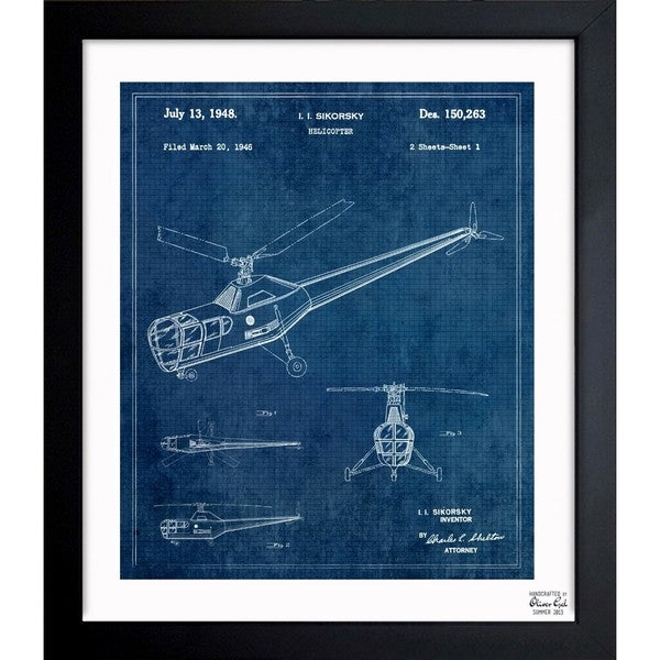 'Helicopter 1946' Framed Blueprint Art