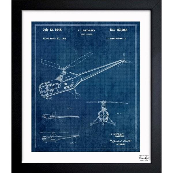 'Helicopter 1946' Framed Blueprint Art