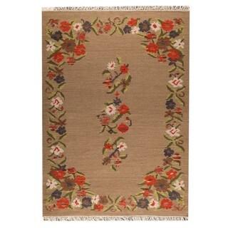 Indian Hand-woven Karba1 Beige Rug (6'6 x 9'9)