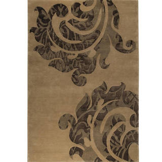 Indian Hand-knotted Almeria Beige/ Brown Rug (5'6 x 7'10)