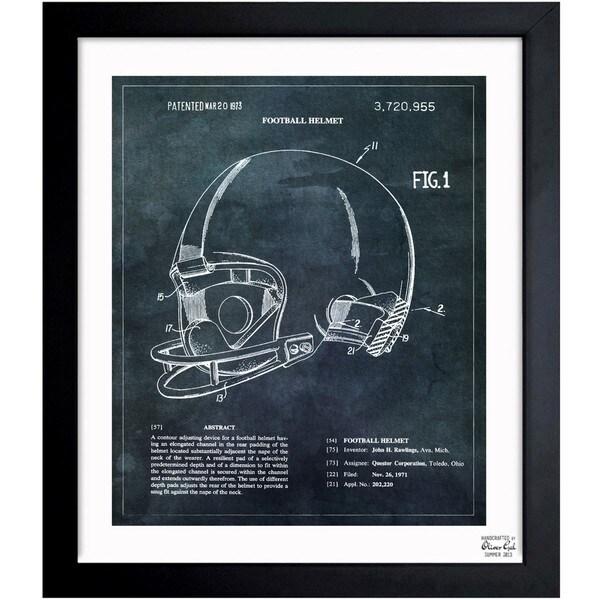 'Football Helmet 1973' Framed Blueprint Art
