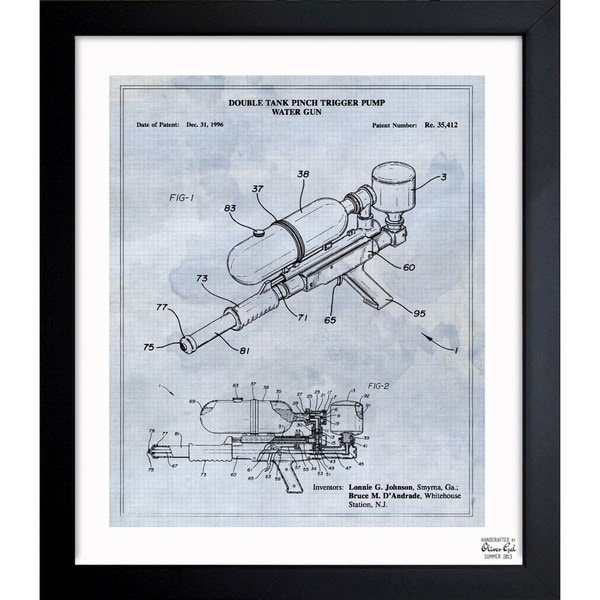 'Double Tank Punch Trigger Pump Water Gun 1996' Framed Blueprint Art