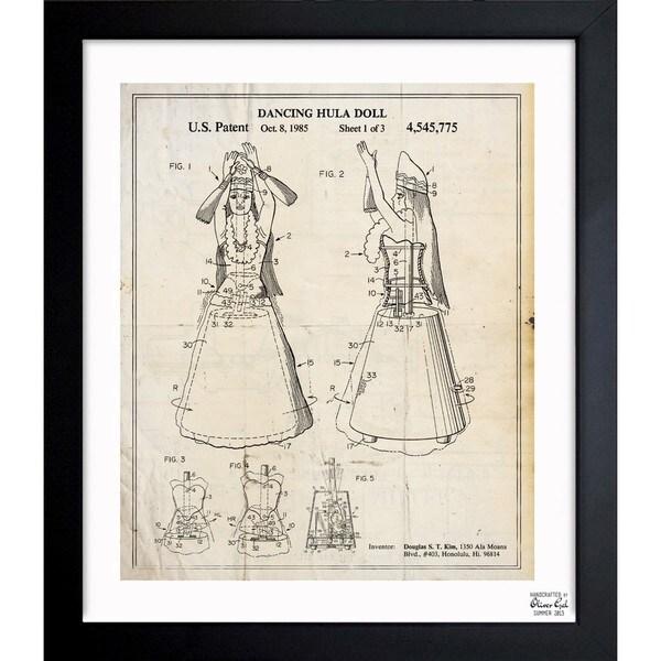 'Dancing Hula Doll 1985' Framed Blueprint Art