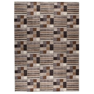 Indian Hand-woven Khema4 Light Grey Rug (9'x12')
