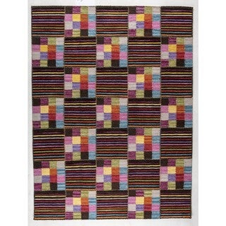 Indian Hand-woven Khema4 Brown/ Multicolored Rug (9'x12')
