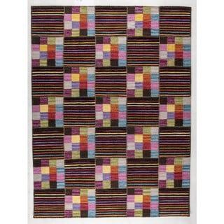M.A.Trading Indian Hand-woven Khema4 Brown/ Multicolored Rug (9'x12')