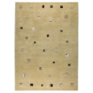 Indian Hand-knotted Colombia Cafe Latte Rug (4'6 x 6'6)